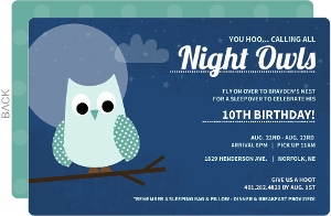 Blue Sleepover Night Owl Birthday Invitation