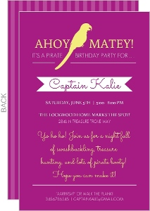 Magenta And Yellow Parrot Birthday Invitation