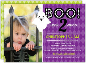 Purple BOO Ghost Halloween Birthday Invitation