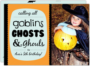 Goblins Ghosts Ghouls  set  Halloween Birthday Invitation