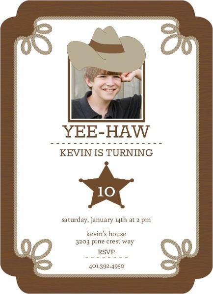 Brown Western Kids Birthday Invitations