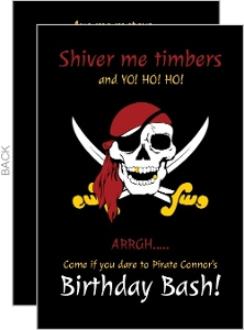 Black Pirate Skull Birthday Party Invitation