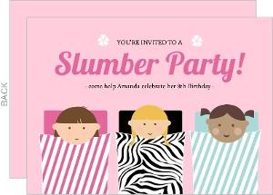 Pink Sleeping Bag Slumber Party Invitaion
