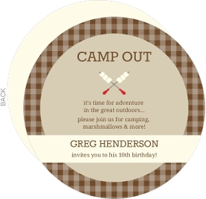 Brown Gingham And Marshmallow Skewers Camp Out Sleepover Invitation