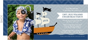 Gray And Blue Pirate Ship Birthday Invitation