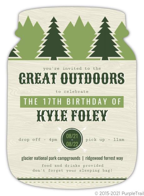 Green Outdoor Adventure Slumber Party Invitation | Kids ...