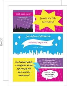 Bright Superhero Comic Strip Birthday Invitation