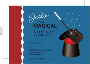 Blue And Red Magic Hat Birthday Invitation