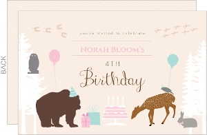 Woodland Critters Kids Birthday Invitation