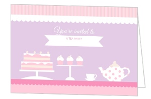 Pink And Purple Tea Party Invitation