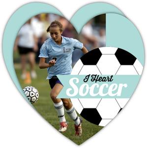 Turquoise Heart Soccer Birthday Invitation
