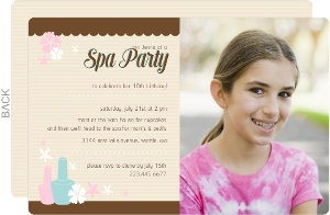 Pink And Turquoise Spa Birthday Invitation