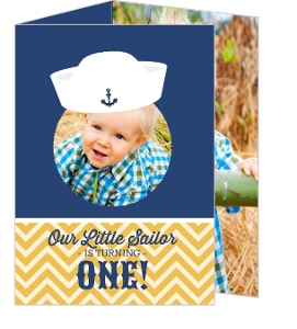 Nautical Sailor Hat Blue And Gold 1St Birthday Invitation