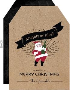 Naughty or Nice Santa Holiday Tag Card