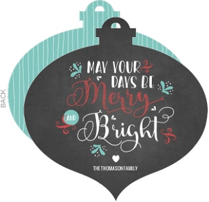 Vintage Chalkboard Merry and Bright Ornament Photo Card