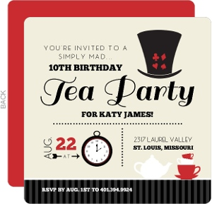 Black And Red Mad Hatter Kids Tea Party Birthday Invitation