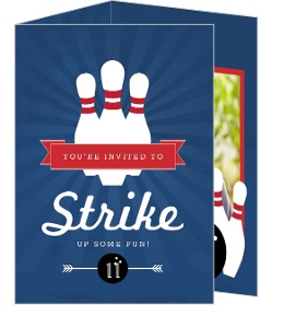 Blue And Red Strike Bowling Birthday Invitation