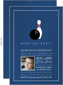 Navy Kids Bowling Birthday Invitation