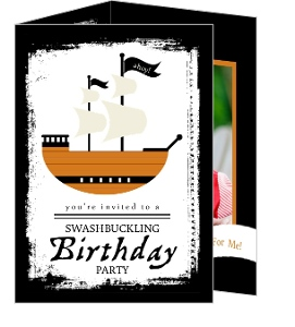 Grunge Black Pirate Ship Birthday Invitation