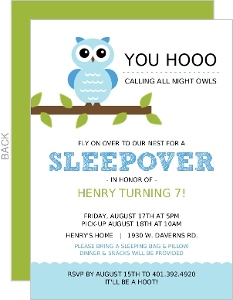 Whimsical Blue Owl Sleepover Party Invitation