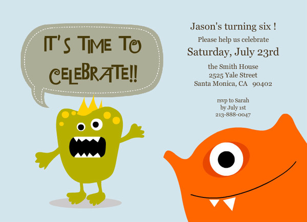 Light Blue Little Monster Birthday Party Invitations | Kids ...