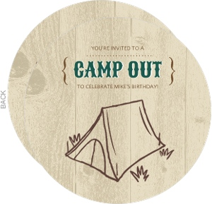 Brown And Green Wood Grain Camp Out Invitation