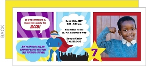 Boy Superhero Photo Comic Strip Birthday Invitation