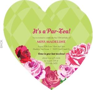 Pink And Green Garden Tea Party Birthday Invitation