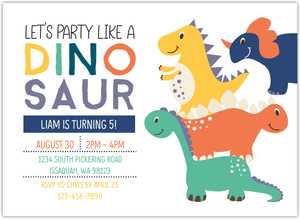 Pink Girl Dinosaur Birthday Party Invitation