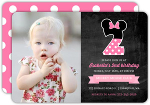 Decorative Number Kids Minnie Birthday Invitation