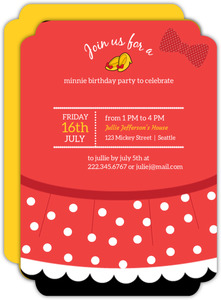 Polka Dot Skirt Mouse Birthday Invitation