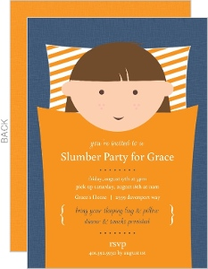 Blue And Orange Sleeping Bag Slumber Party Invitation