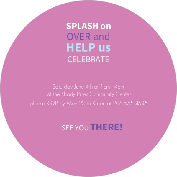 Splish Splash Purple and Blue Birthday Invitations