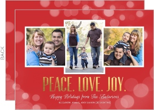 Peace Love Joy Gold Foil Holiday Photo Card