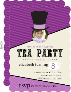Purple Wonderland Mad Hatter Tea Party Invitation