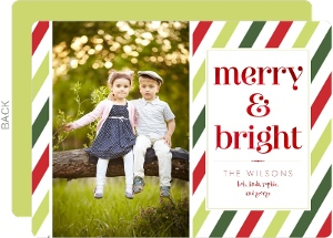 Merry & Bright Red Foil Christmas Photo Card