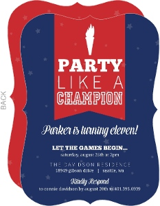 Patriotic Torch Kids Birthday Invitation