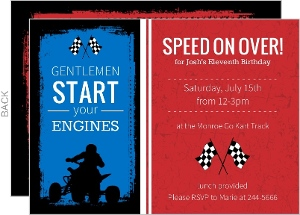 Red And Blue Go Kart Birthday Party Invitation
