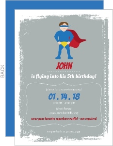 Superboy Gray And Red Birthday Invitation