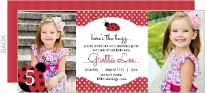 Red Polkadots Ladybug Birthday Invitation