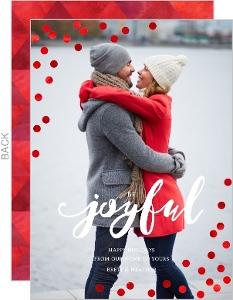 Joyful Red Foil Confetti Holiday Photo Card