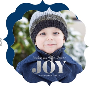 Simple Silver Foil Joy Christmas Photo Card