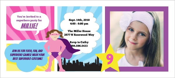Girl Superhero Photo Comic Strip Birthday Invitation