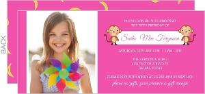 Bright Pink Photo Monkey Kids Birthday Party Invite