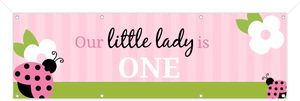 Ladybug Green and Pink Birthday Banner