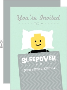 Mint And Gray Sleepover Kids Birthday Invite