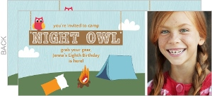 Blue Slumber Party Night Owl Birthday Invitation