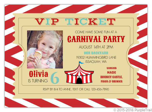 Admission Ticket Brown Kids Birthday Invitation