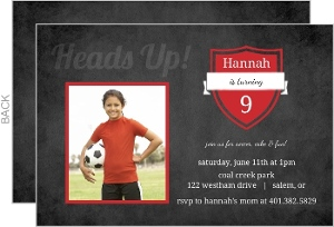 Red And Grunge Soccer Party Invitation