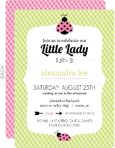 Pink And Green Gingham Ladybug Birthday Invitation